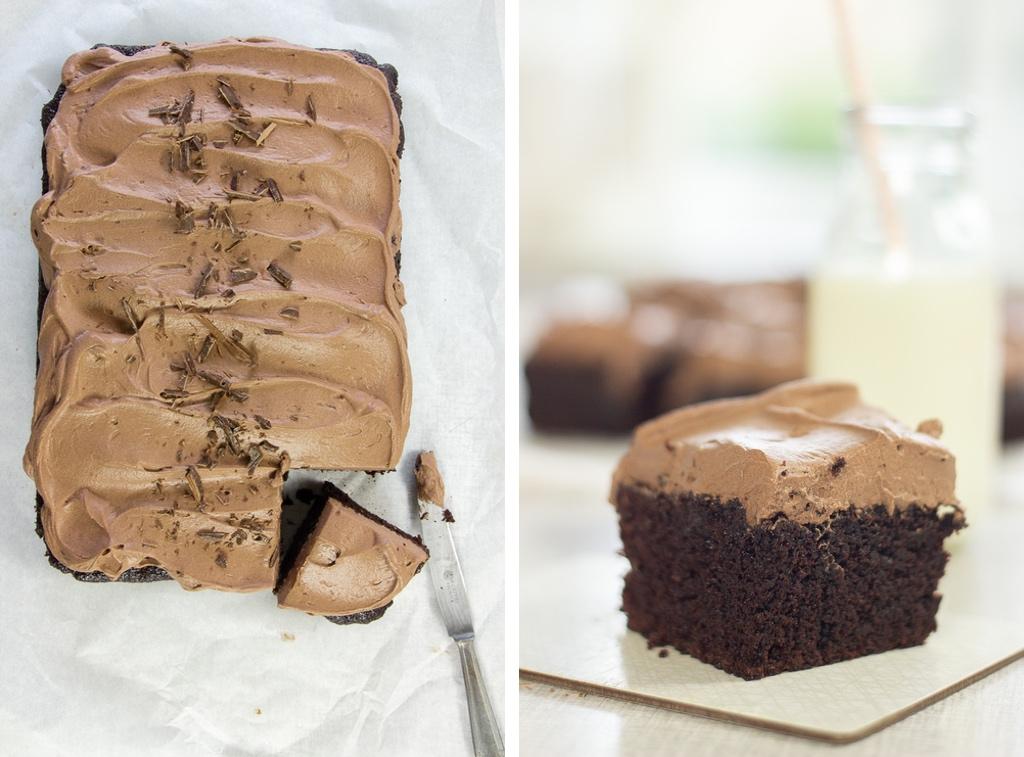 Svampet chokoladekage med kærnemælk og kakaoskum