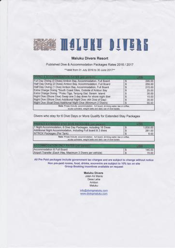 Maluku Diversのプライスリスト