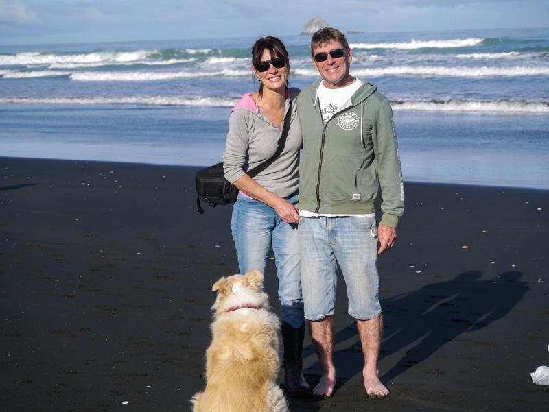 Enjoying the winter sun at Muriwai beach
