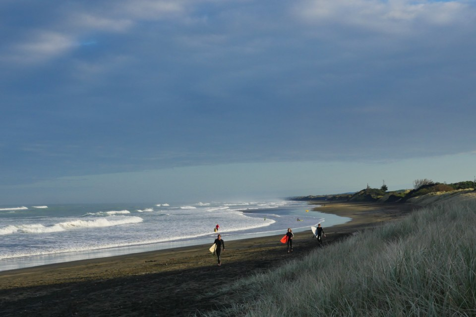 surfers at Muriwai beach