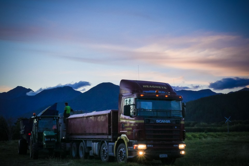 Truck waiting for grapes in Marlborough