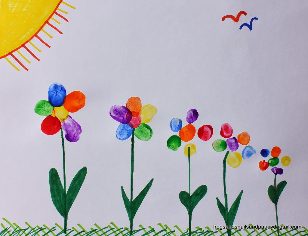 Rainbow Fingerprint Flower Family Art