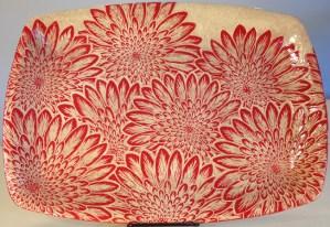 Stoneware plattter, sgraffito carved mums desgins