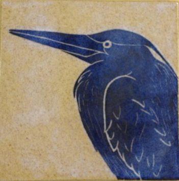 Ceramic tile, sgraffito carved heron