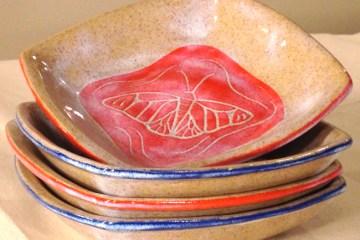 Stoneware bowls, stacked
