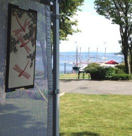 Harbor view from the Frog Song Designs booth at the 2017 Bar Harbor Fine Arts Festival