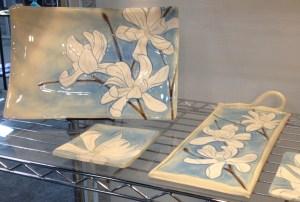 Stoneware tableware, sgraffito carved magnolias design