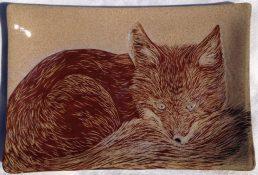 Ceramic platter, sgraffito carved red fox design