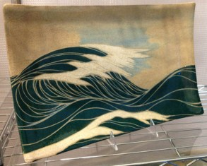 Ceramic platter, sgraffito seascape design