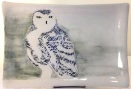 Ceramic platter, sgraffito snowy owl