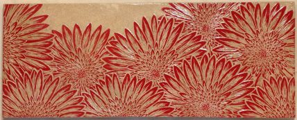 Stoneware wall tile, sgraffito carved mums motif