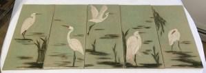 Ceramic tiles, sgraffito carved egret designs