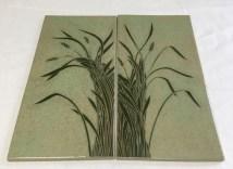 Ceramic tiles, sgraffito carved grasses design