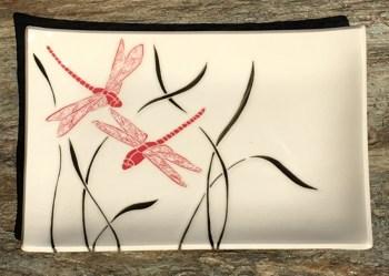 Rectangular stoneware platter, dragonflies design