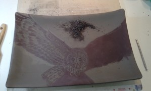 Photo of work in progress, sgraffito carving