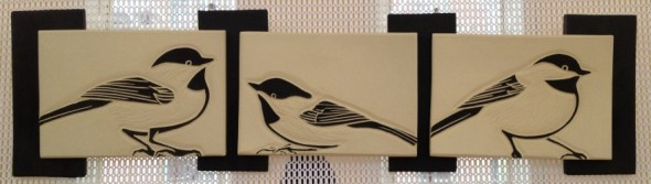 Triptych tile, sgraffito carved chickadee motif