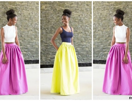 Simple and colourful maxi skirts