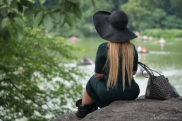 Black-hatted lady at the Lake in Central Park