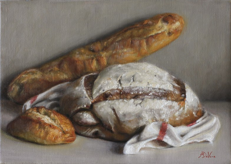 Bread - 2014 - Oil on Linen - 10 x 14- https://from1artist2another.wordpress.com/2015/03/28/michael-devore-painter-us-colorado/