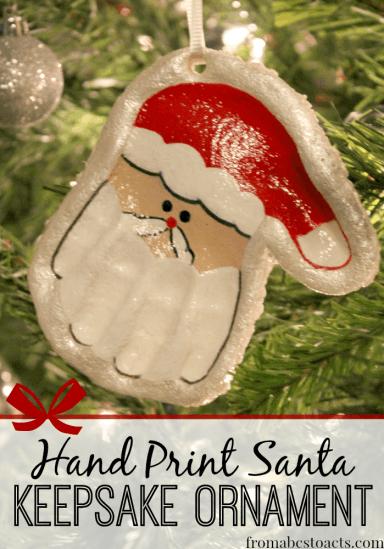 Santa Crafts Kids Can Make - Salt Dough Hand Print Santa Ornament
