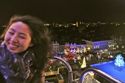 Lin enjoying the view from the Ferris wheel