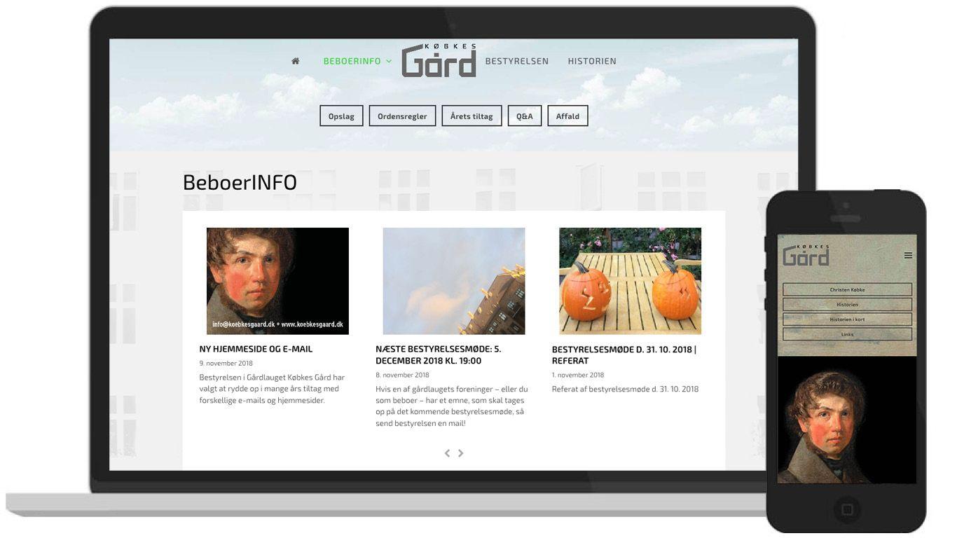 Hjemmeside for gårdlaug: Købkes Gård