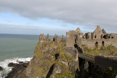 The view of the castle out on the cliffs from the mainland.