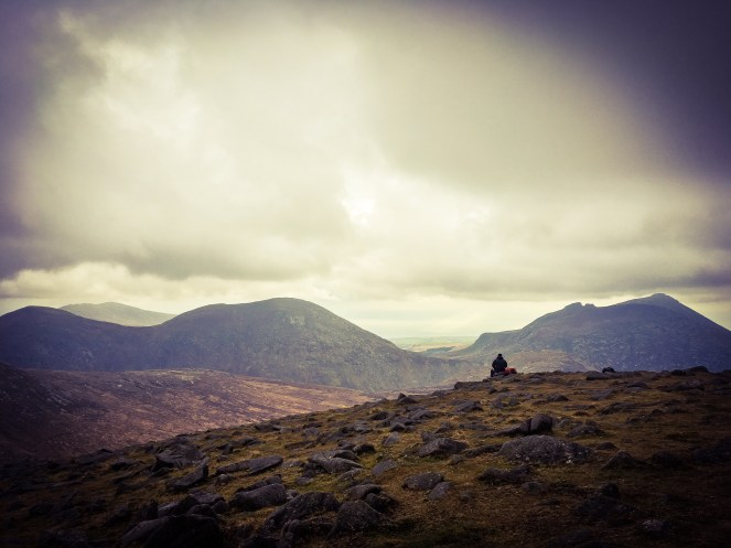 Top of Meelbeg ... contemplating central Mournes