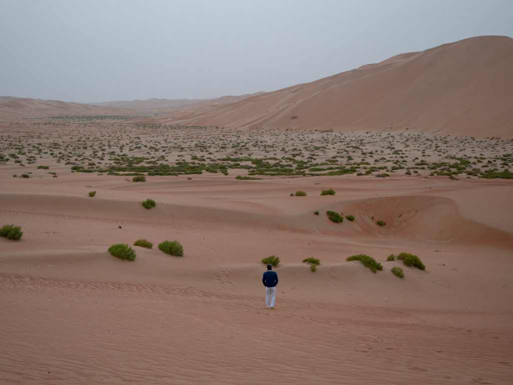 papa de dos marchant seul dans le désert