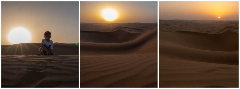 3 photos du coucher de soleil sur les dunes, sur la 1ere enfant à contre jour