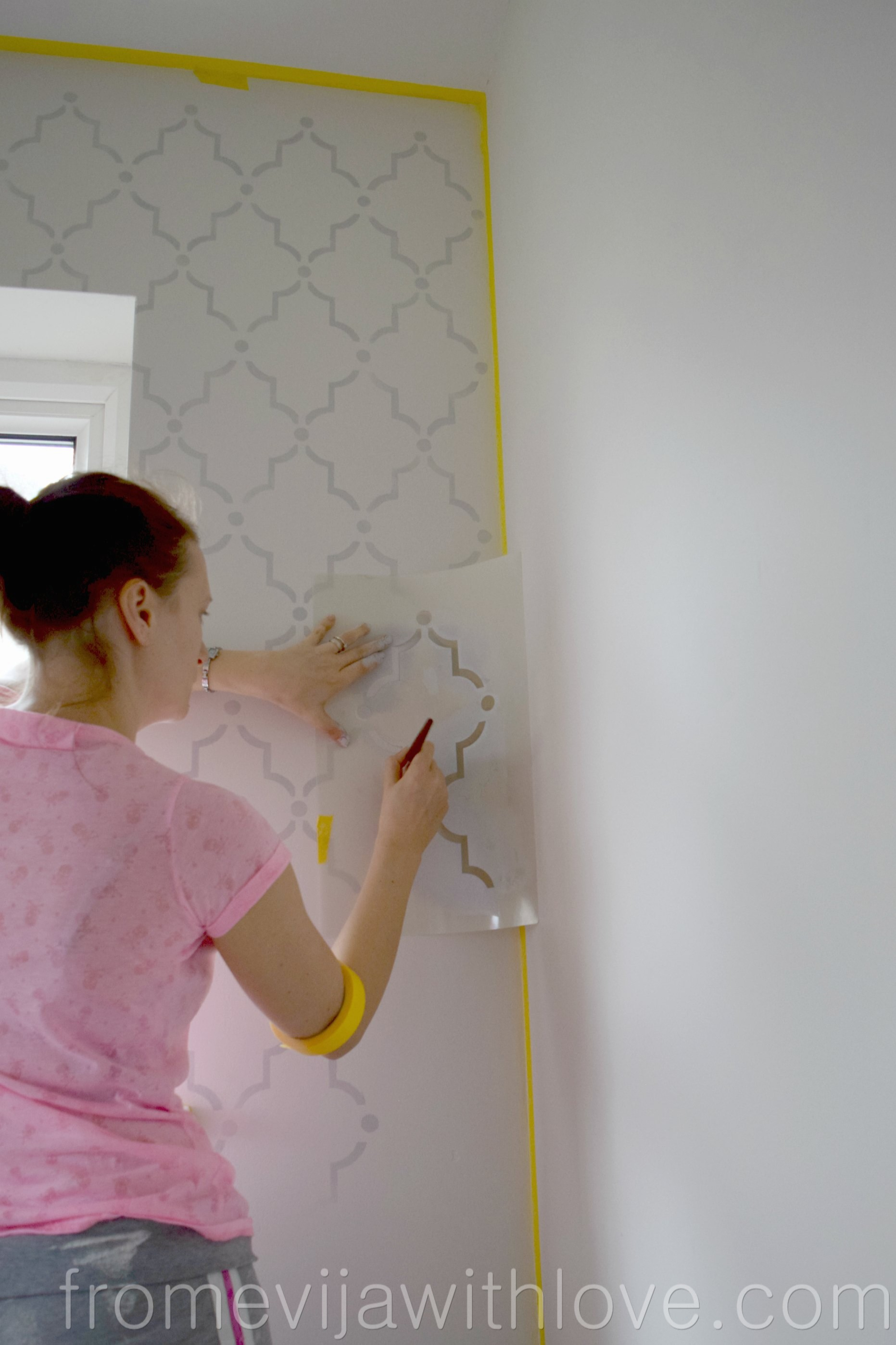 How to stencil a wall beginners guide from evija with love the wall looks absolutely gorgeous a few more things i need to finish off before i can share the whole craft room reveal amipublicfo Gallery