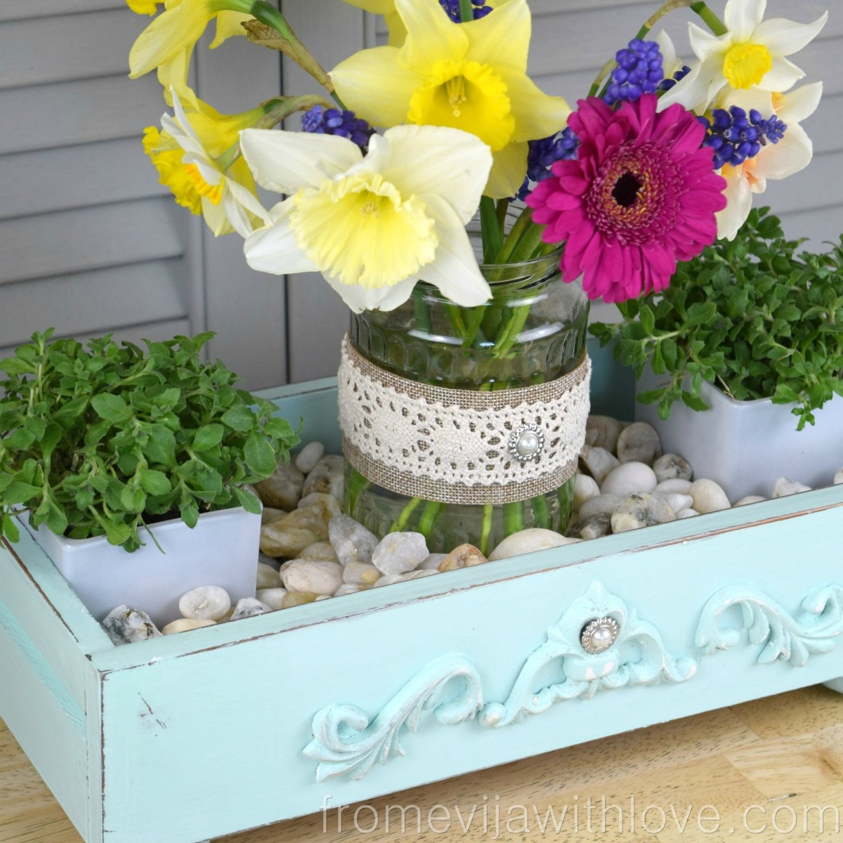 Thrift Store Swap - Drawer Turned into Spring Centerpiece