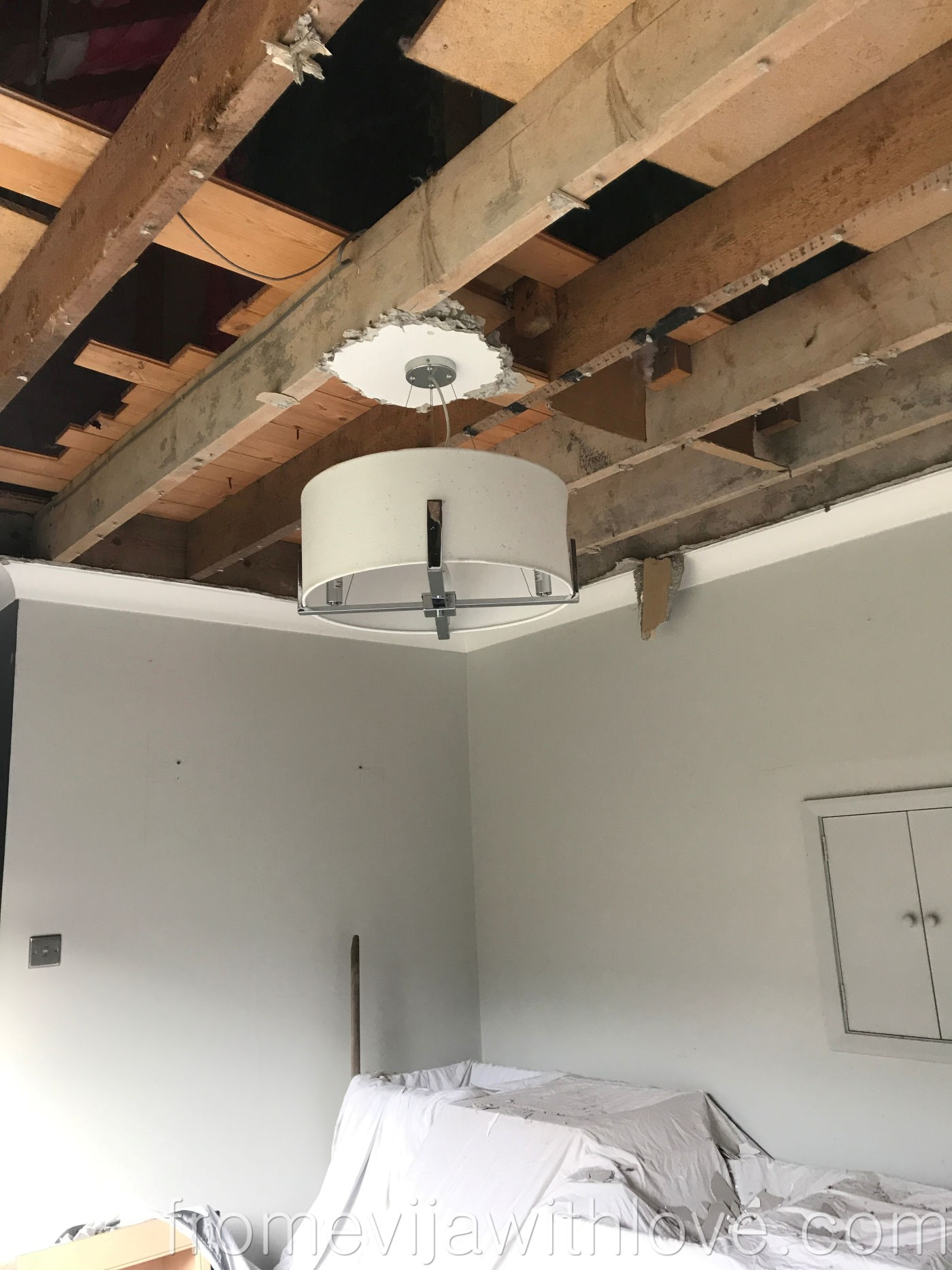 Kitchen renovation removing old ceiling