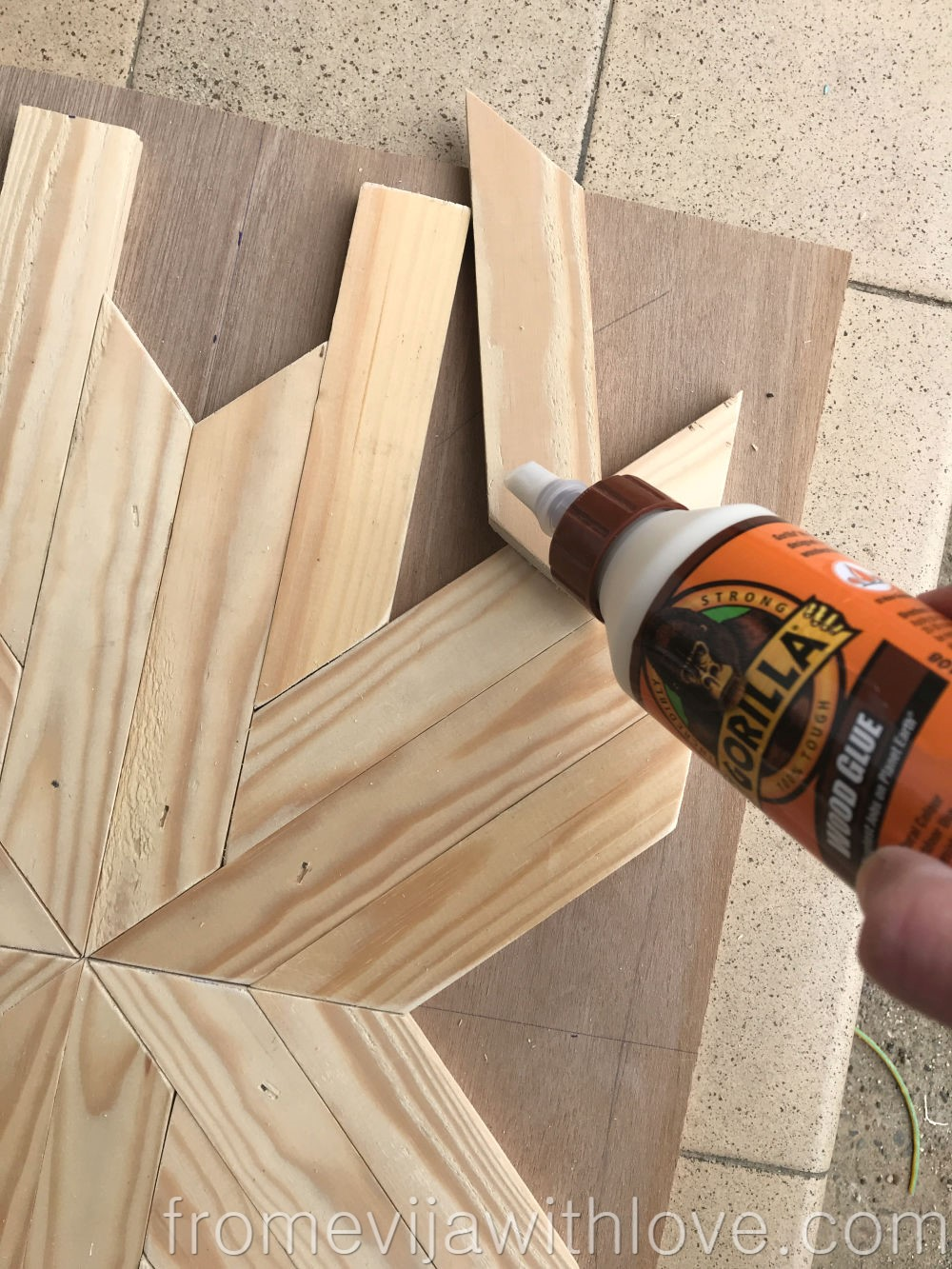 glueing wooden pieces together using Gorilla wood glue