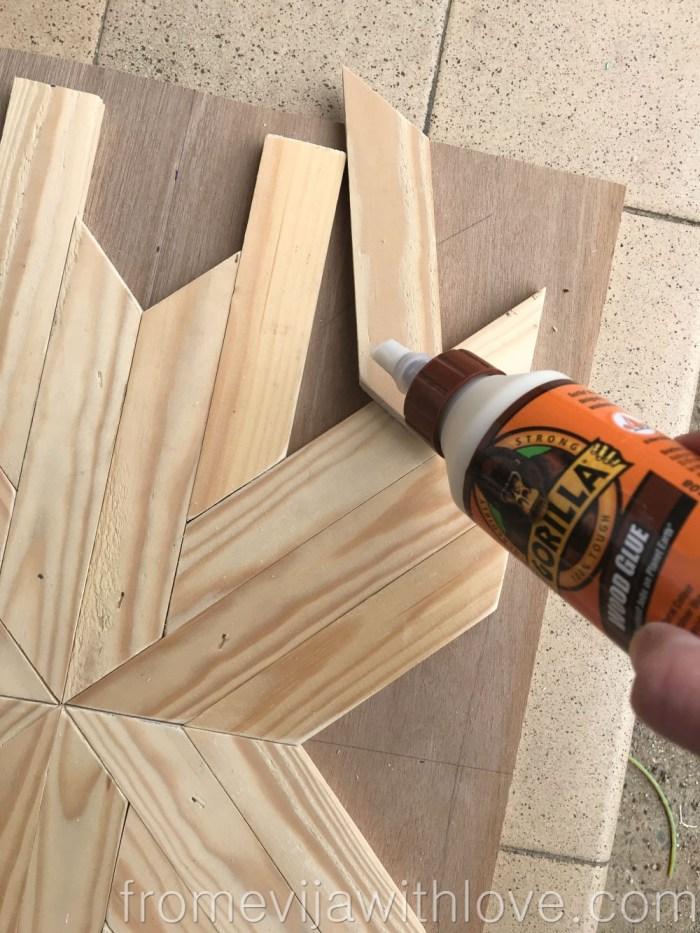 glueing wooden pieces together using Gorilla wood glue