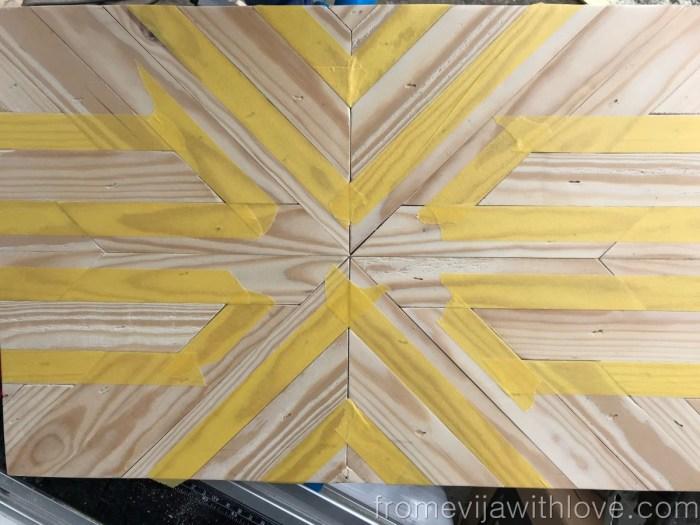 Painters tape on Decorative Geometric Wood Tray