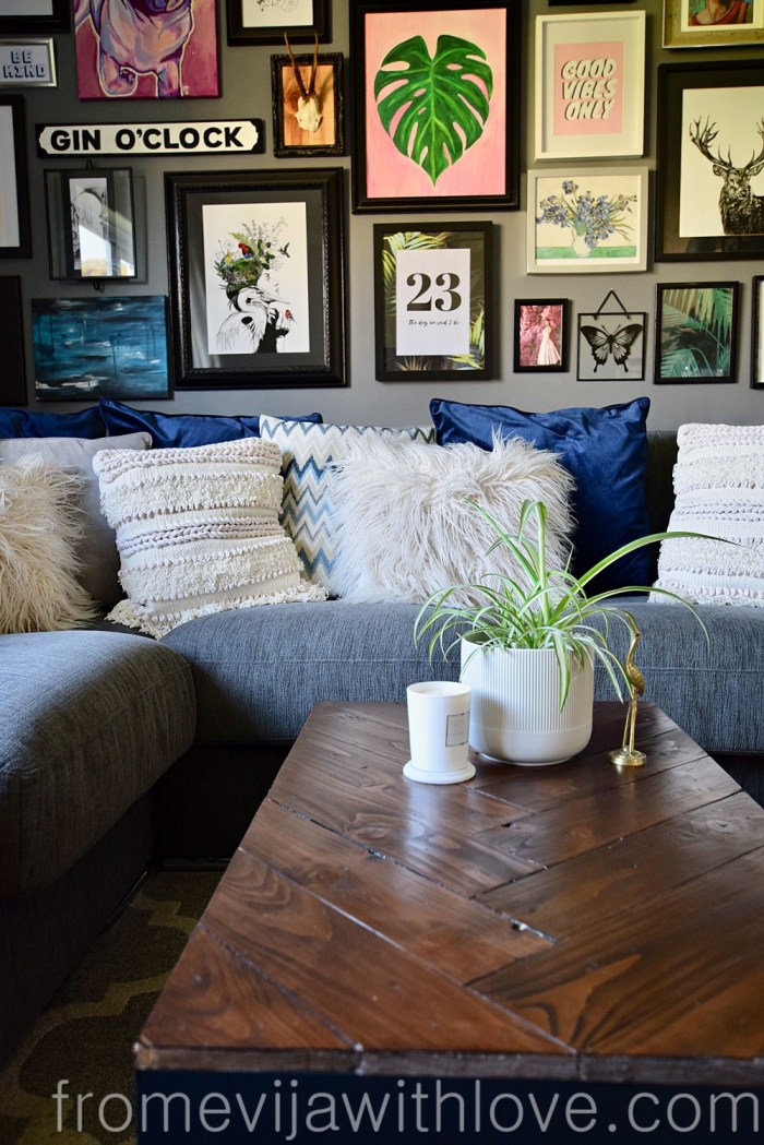 gallery wall and coffee table