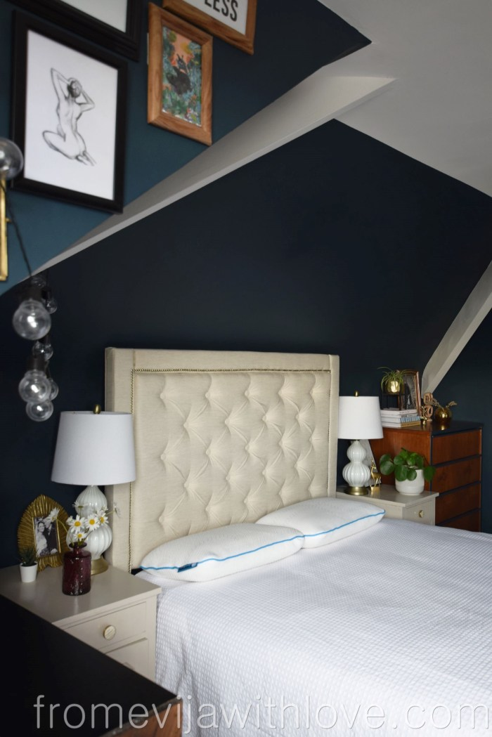 dark bedroom interior and pillows