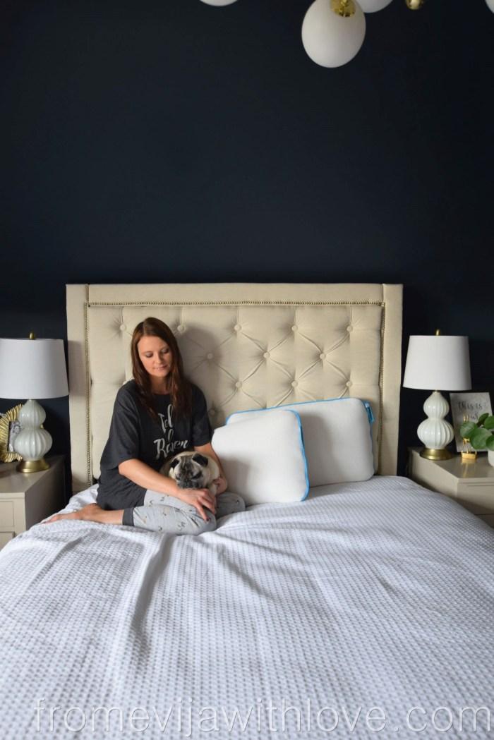 Bedroom with sleepbear latex pillows and pug
