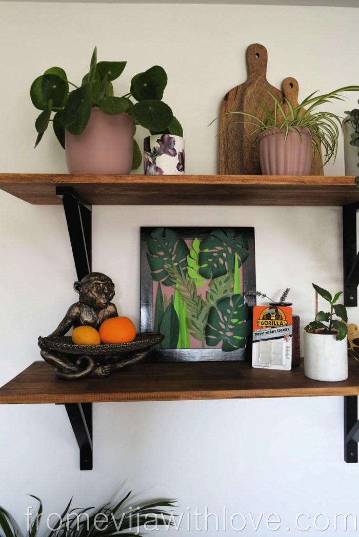 tropical leaf wall art DIY jungle art with glue dots and plants