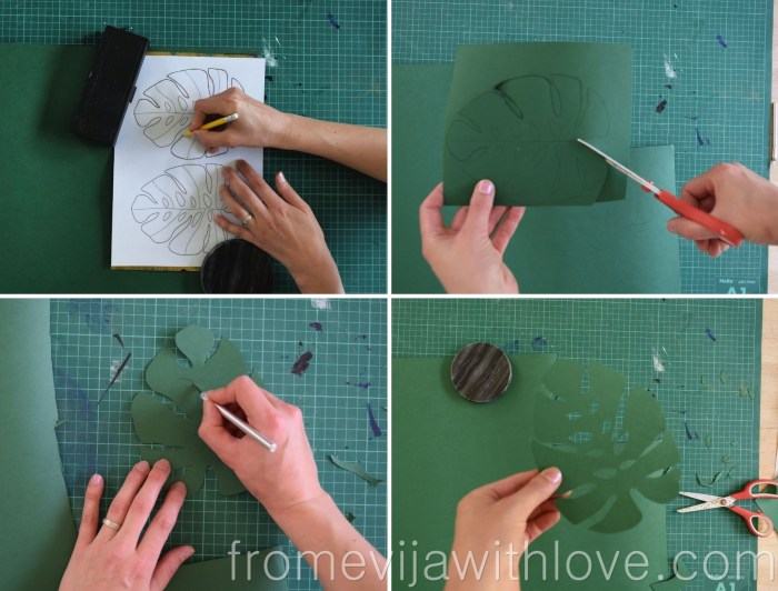 tropical 3d wall art cutting out leaves from paper