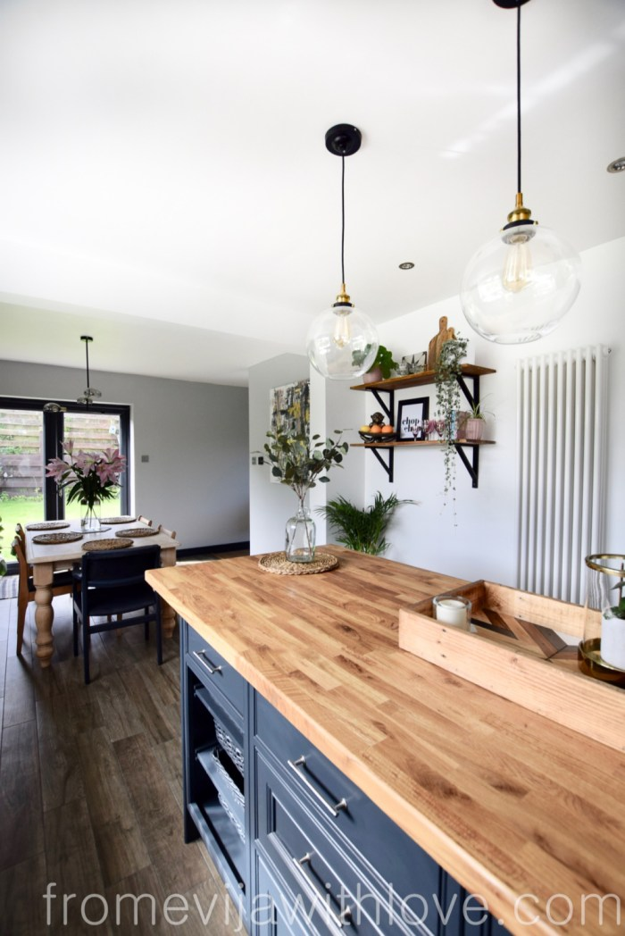Kitchen renovation DIY project kitchen island globe pendants