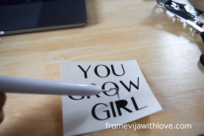 weeding letters using a tool with cricut machine
