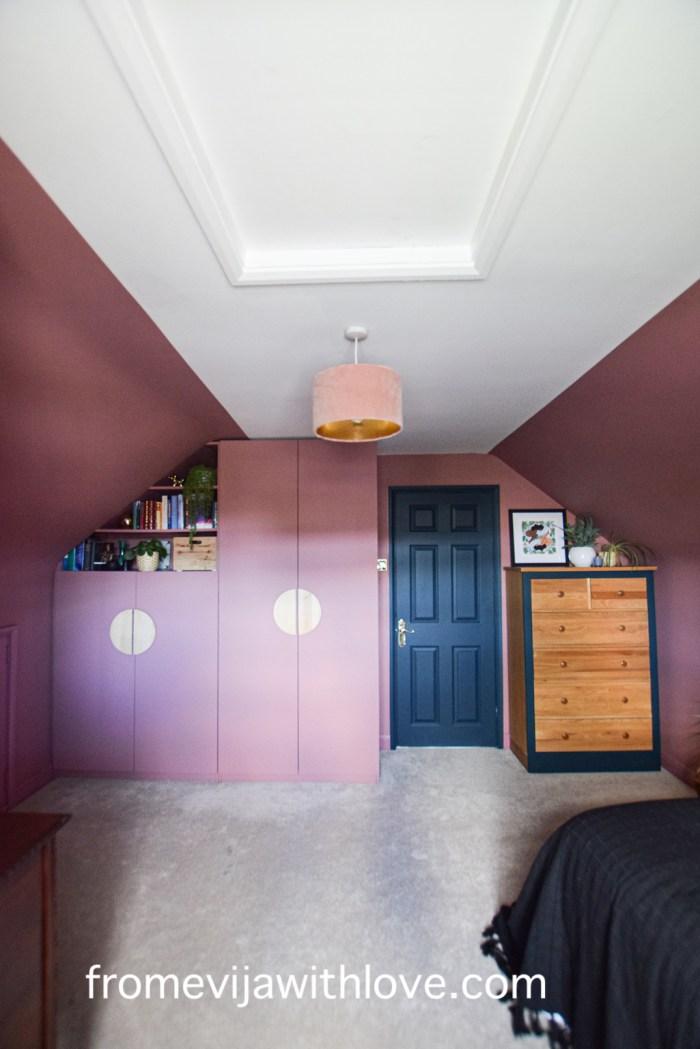 pink spare bedroom and diy custom build wardrobe