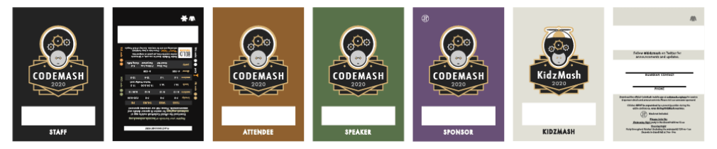 Badges shown in different colors for different attendee types