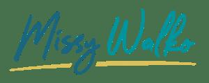 """""""Missy Walko"""" written in two teal tones"""