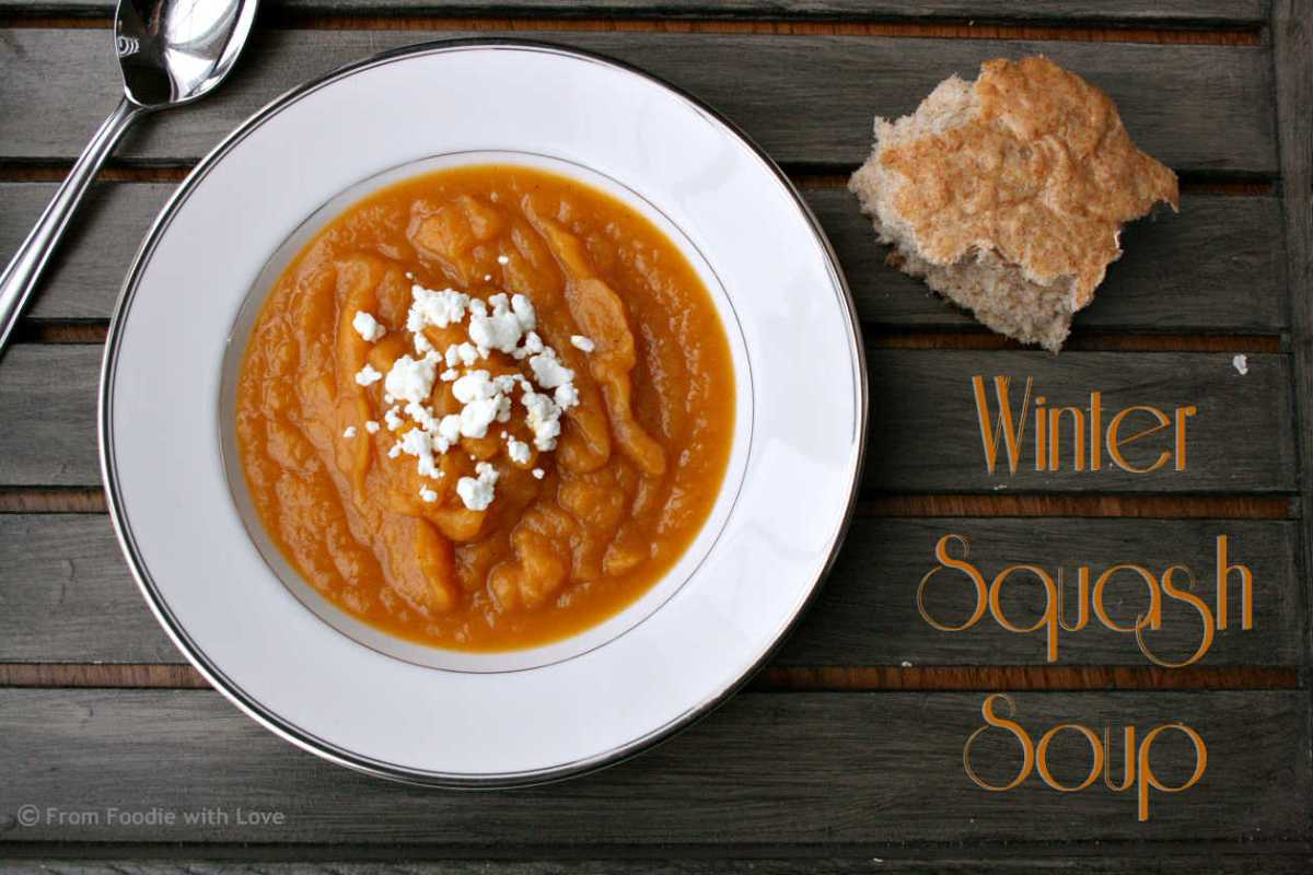 Crock Pot Winter Squash Soup with Goat Cheese Crumbles