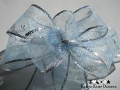 Sheer Blue Snowflake Decorative Bow