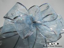 Sheer Blue Snowflake Decorative Bow