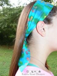 Blue batik flower hair scarf